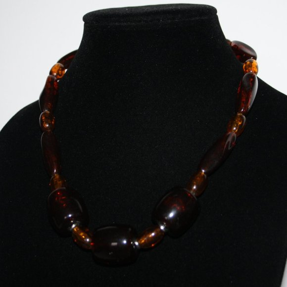 """Beautiful silver and amber necklace 20"""""""